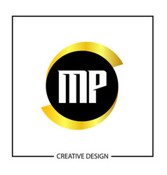 initial mp letter logo template design vector image