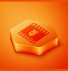 Isometric 4k movie tape frame icon isolated on vector
