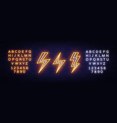 Lightning bolt set neon signs design vector