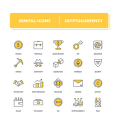 Line icons set cryptocurrency vector