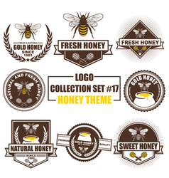 logo collection set with honey theme vector image