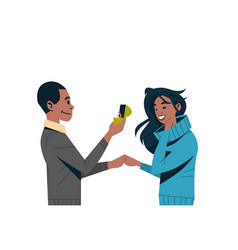 man holding engagement ring proposing to woman vector image