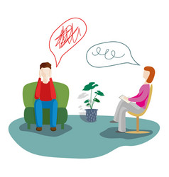Man talking to psychotherapist or psychologist vector
