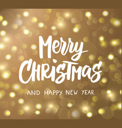 merry christmas and happy new year hand drawn text vector image