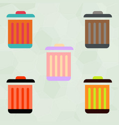 Metal garbage can set vector