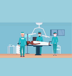 mix race surgeons team surrounding patient lying vector image