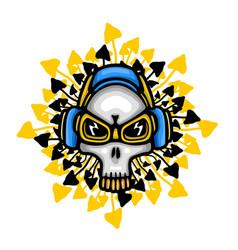 music theme skull vector image