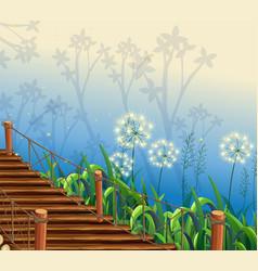 Nature scene with wooden bridge vector