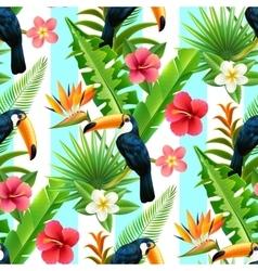 Rainforest toucan flat seamless pattern vector