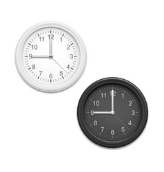 realistic detailed 3d classic clocks white and vector image