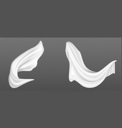 Realistic flying white silk fabric vector