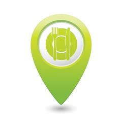 Restaurant icon green pointer vector