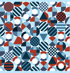Retro circles with geometric shapes seamless vector