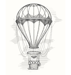 Retro hot air balloon sketch vector