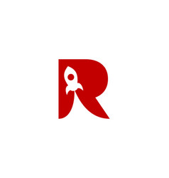 rocket letter r logo icon design vector image