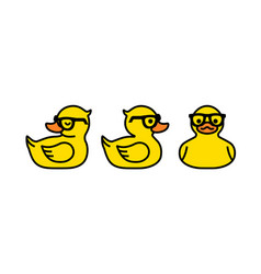 Rubber yellow duck in sunglasses icon isolated vector