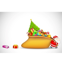 Santa Claus dragging Gift Bag vector