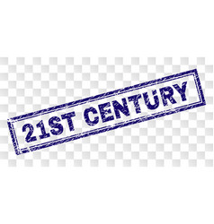 Scratched 21st century rectangle stamp vector