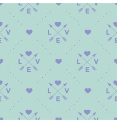 Seamless pattern with arrow heart and word Love vector image