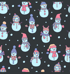 Seamless pattern with hand drawn snowmen and vector