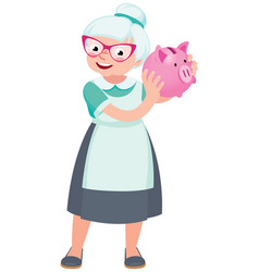 senior woman holding a piggy bank for money vector image