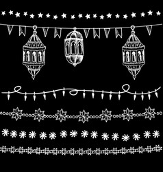 Set doodle chalk garlands illuminations vector