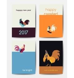set new year postcards with roosters vector image