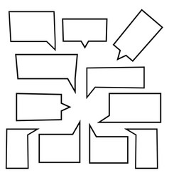 set of speech bubbles linear icons in shape vector image