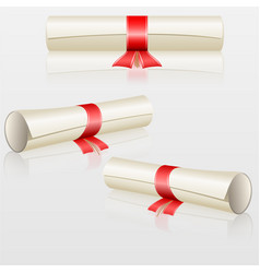 Set scrolls with red ribbon vector
