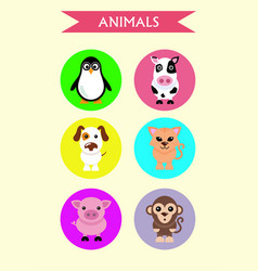 set stickers animals dog cat cow pig penguin vector image