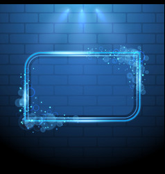 shining blue neon light frame design element vector image