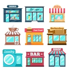 Shops and stores icons set in flat design style vector