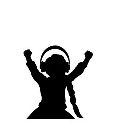 silhouette girl listening to music with headphones vector image