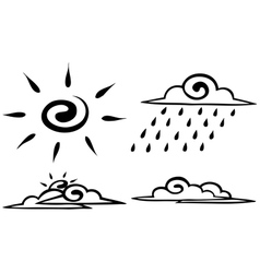 Sketch Set forecast icon vector