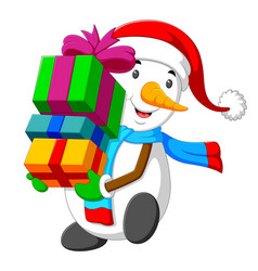 snowman is holding a big box of gift for christmas vector image