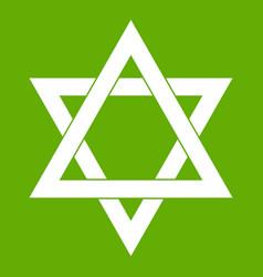 star of david icon green vector image