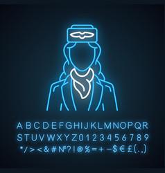 Stewardess neon light icon vector