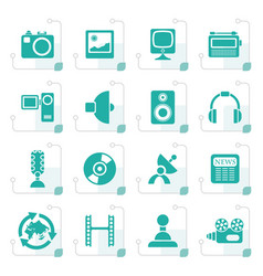 Stylized media and household equipment icons vector