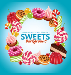 sweet candy frame lollipop round and twisted shop vector image