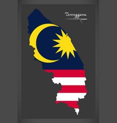 Terengganu malaysia map with malaysian national vector