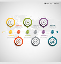 Time line info graphic with round color design vector