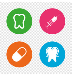 tooth enamel icons medical syringe and pill vector image