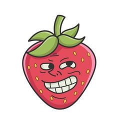 Trolling meme strawberry fruit icon cartoon vector