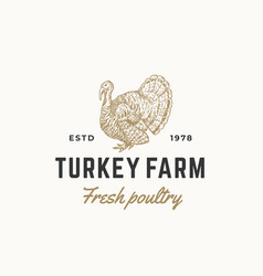 Turkey farm fresh poultry abstract sign vector