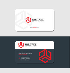 Two sided business card red hexagon vector