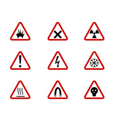 Warning and hazard symbols on triangles vector