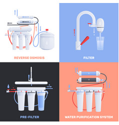 Water filter flat icon set vector