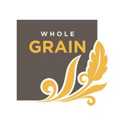 Whole grainemblem ear wheat ecology symbol vector
