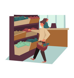 woman shopping in supermarket buying food or vector image