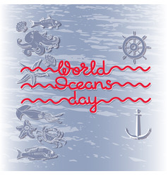 world ocean day card abstract poster wit vector image